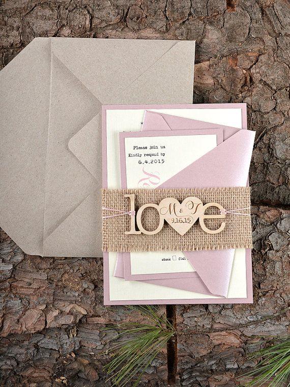 Benutzerdefinierte Liste (20) Rustikal Hochzeitseinladung, Holz Einladung,  Sackleinen Einladungen, Pink Hochzeitseinladung,