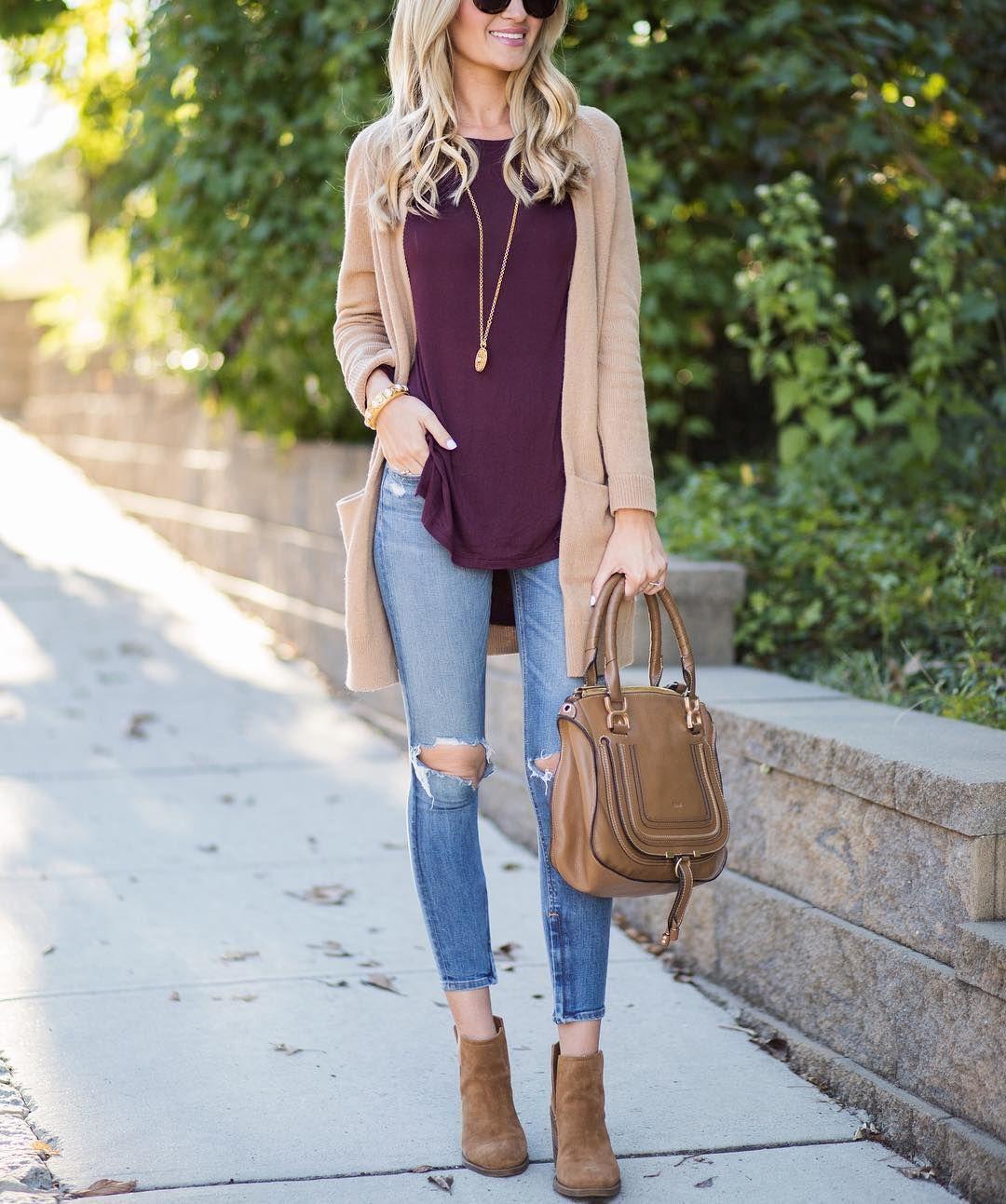 Color maravilloso moda Jeans Blusa vino Cardigan beige Botines   Fashion 2016   Pinterest ...