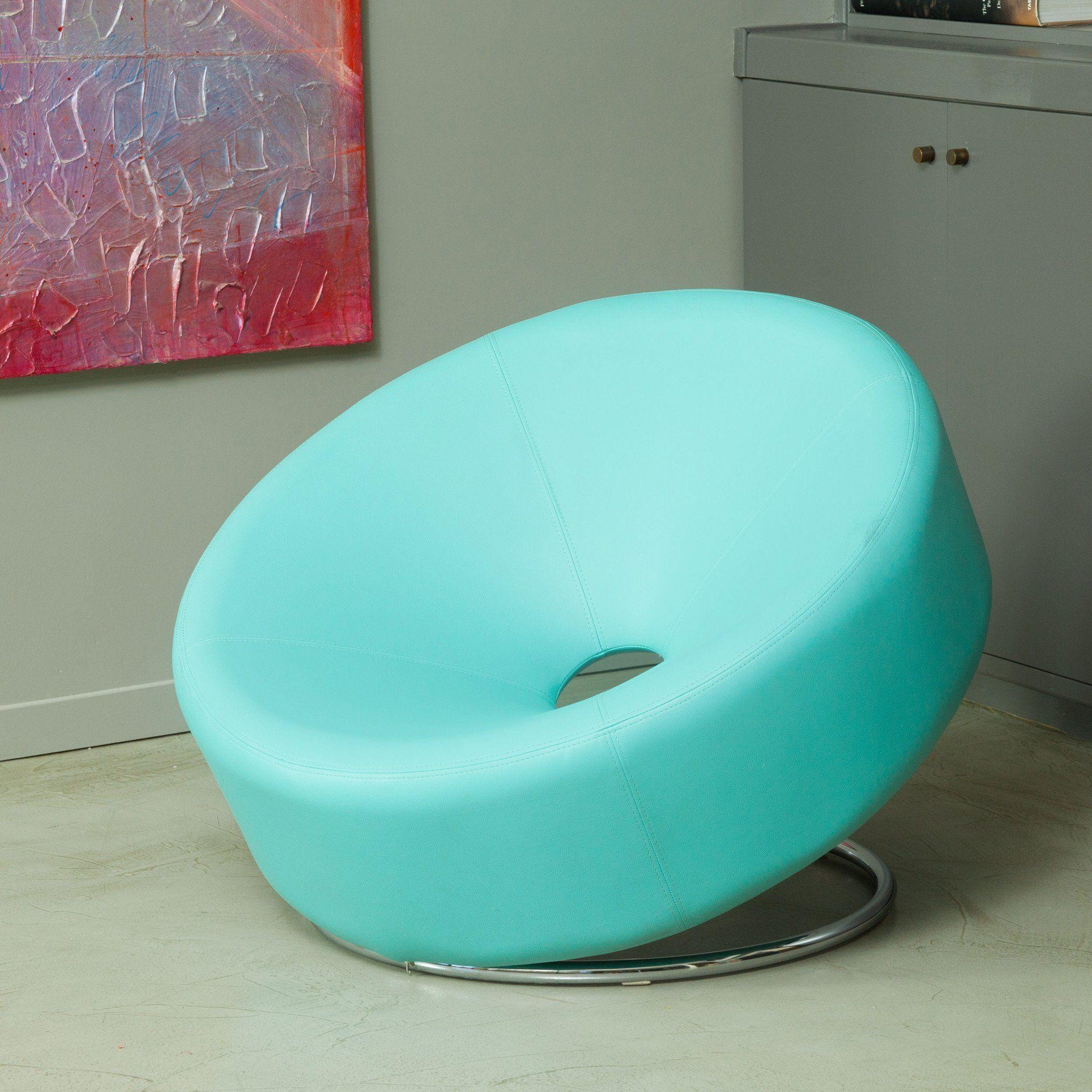 Best Nouvelle Modern Design Blue Leather Accent Chair Blue 400 x 300