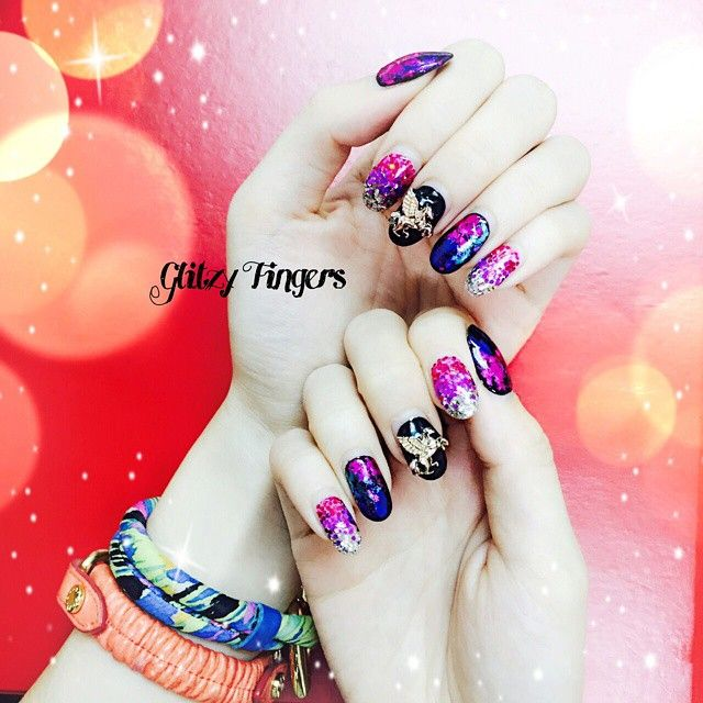 """ Glittery × Happy Colours , Just in time for the NEW YEAR !!  10 more days to 2015 !  • Have you girls gotten your New Year's nails done ? -- ☎ WhatsApp Belle @ 81007353 for bookings ☆"" Photo taken by @glitzyfingers on Instagram, pinned via the InstaPin iOS App! http://www.instapinapp.com (12/21/2014)"