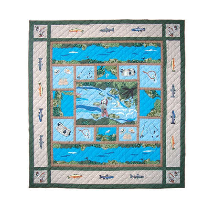 Patch Magic Fly Fishing Quilt Qffsh Fish Quilt Patch Magic Rustic Quilts