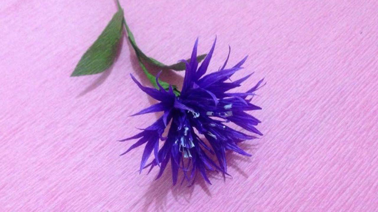 How To Make Cornflower Crepe Paper Flowers Flower Making Of Crepe