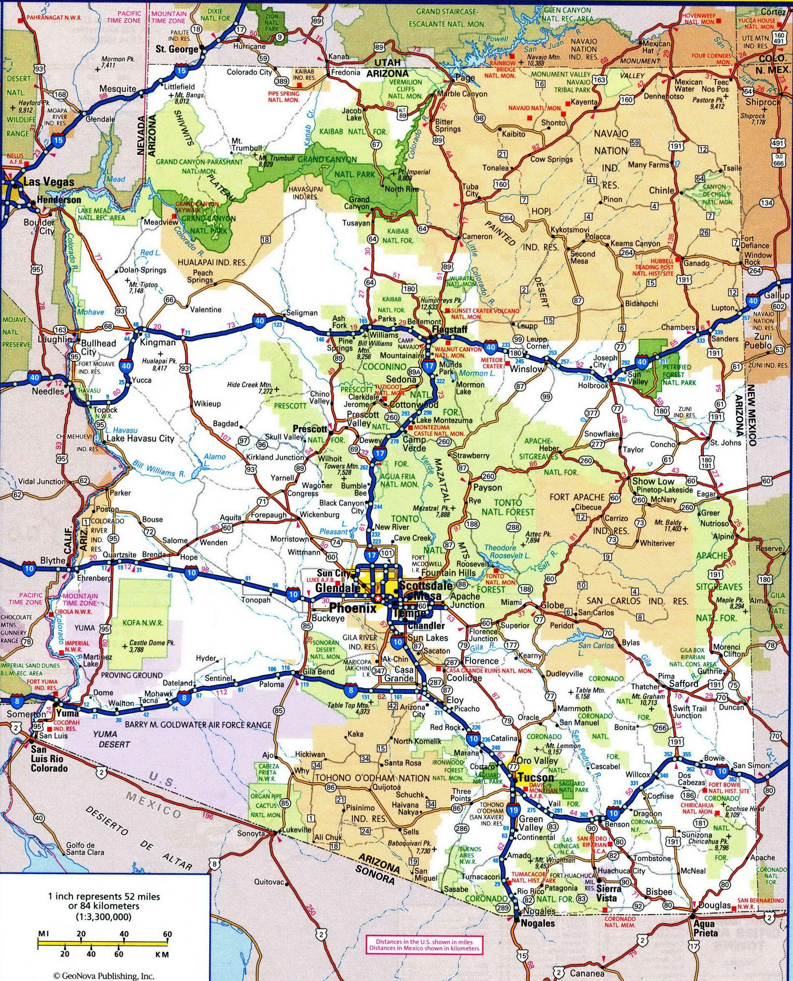 Road Map Of ArizonaFree Maps Of US TravelUS Arizona - Az road map