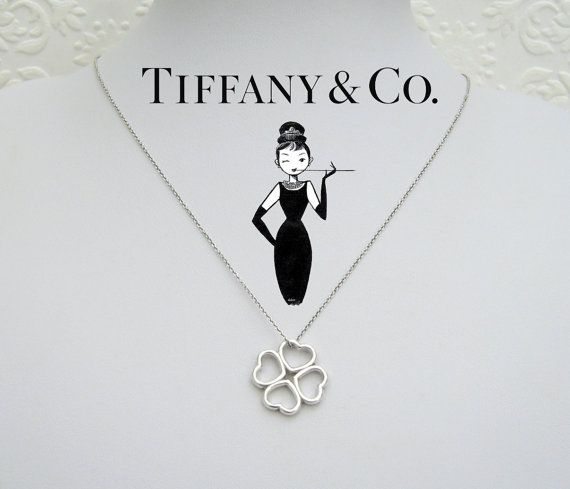 a362d62aa Tiffany & Co Four Hearts Clover Shamrock Pendant 925 Sterling Silver ...