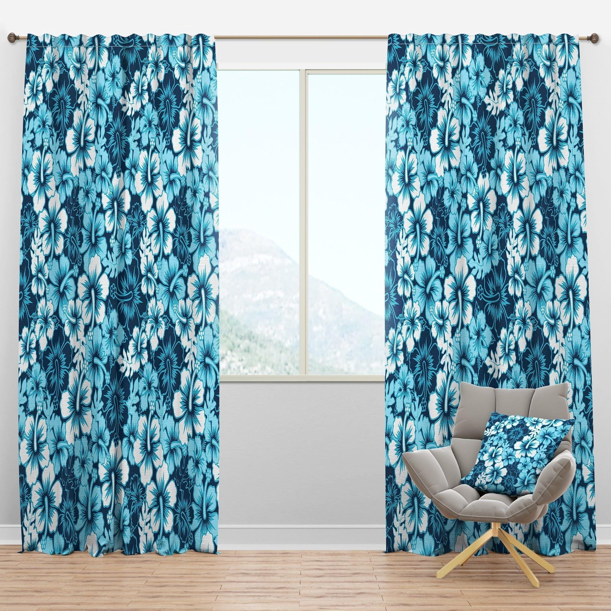Designart Indigo Hawaii Flowers Pattern Tropical Curtain Panels