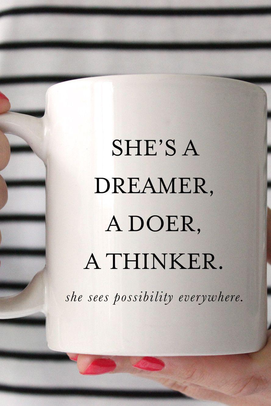 Dreamer Doer Thinker Mug Charm Gumption Mugs Best Advice Quotes The Dreamers