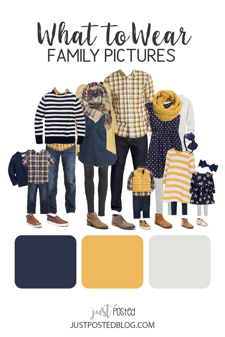 What to Wear for Family Pictures - Navy and Yellow