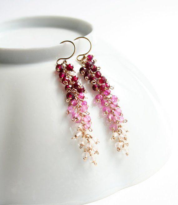 Pink Earrings, Mother's Day, Pink Dangle Earrings, Gemstone Jewelry