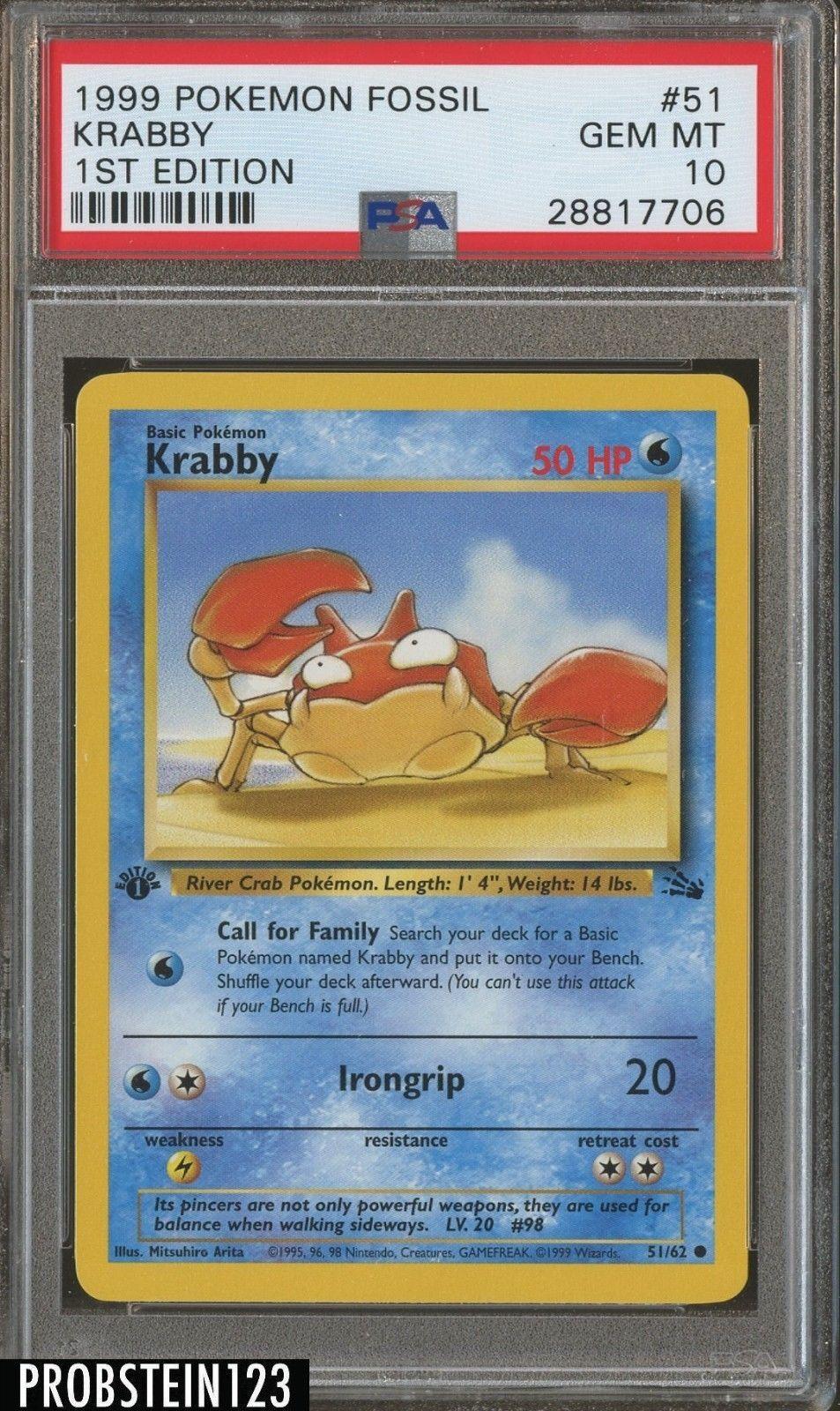1999 pokemon fossil 1st edition 51 krabby psa 10 gem mint