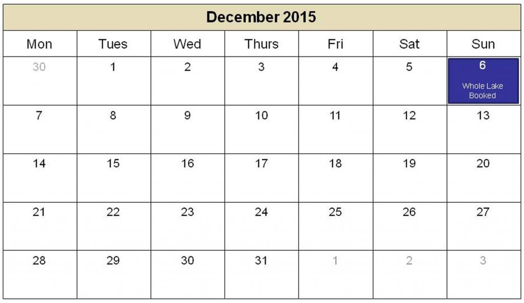 Blank Printable Calendar 2015 december