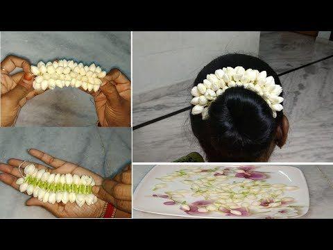 మల్లెపూలతో ఇలా వేణి తయారుచేసుకోండి / how to make jasmine flowers veni / flower garland veni - YouTube #garlandofflowers