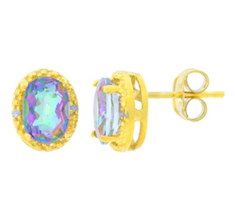 Natural Mystic Topaz Round Stud Earrings 14Kt White Gold