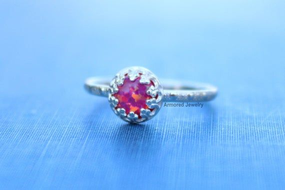 Photo of Sterling Silver Opal Ring Slim Dotted Band, Choose Your Color, Opal Jewelry, Dainty Opal Ring, Birth