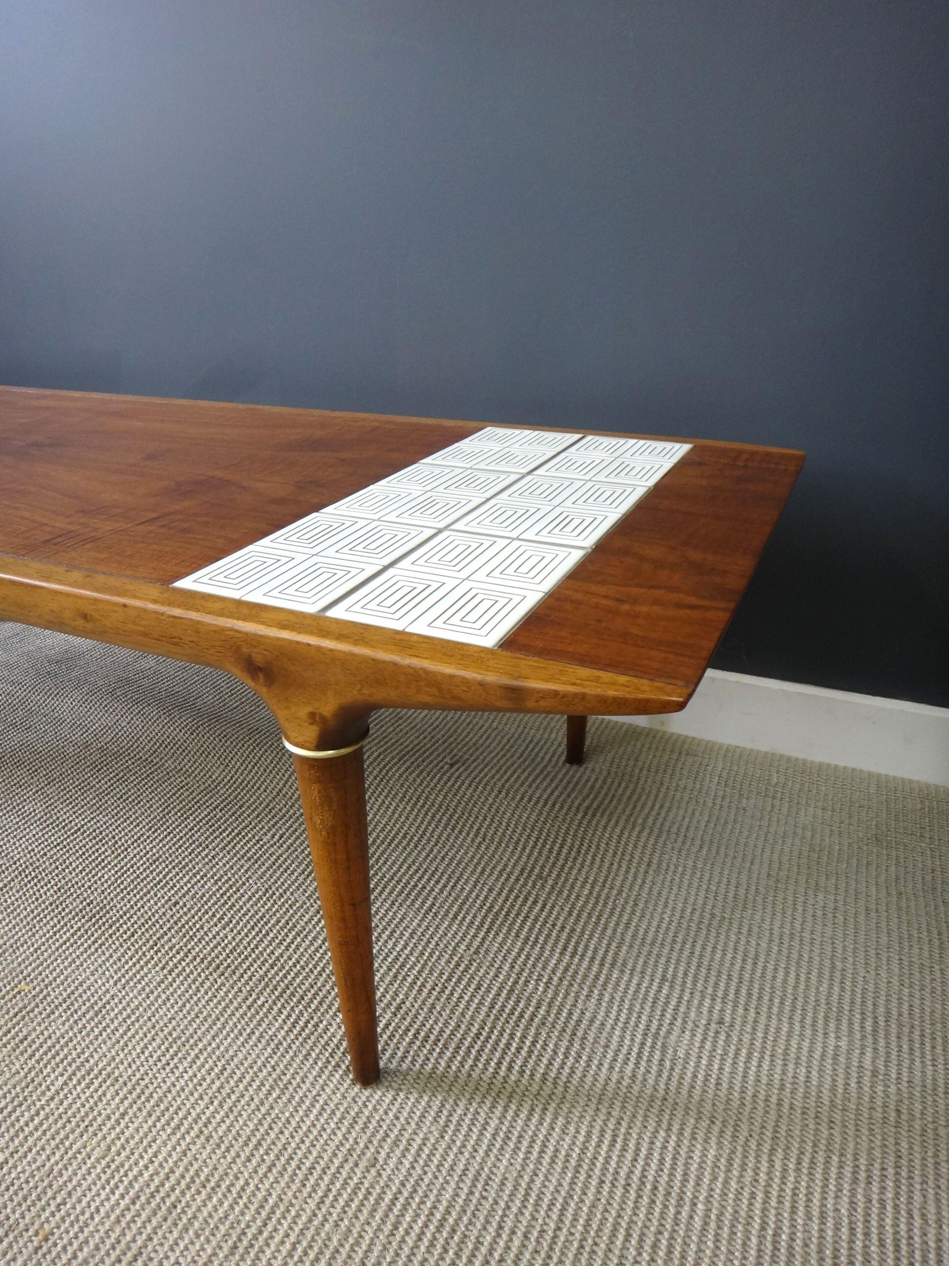 Mid Century Walnut And Tile Coffee Table