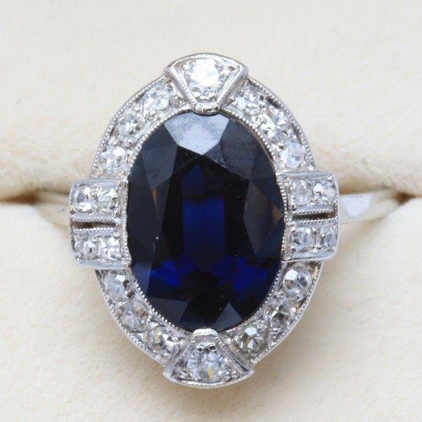 1930s Sapphire Diamond Filigree Gold Engagement Ring