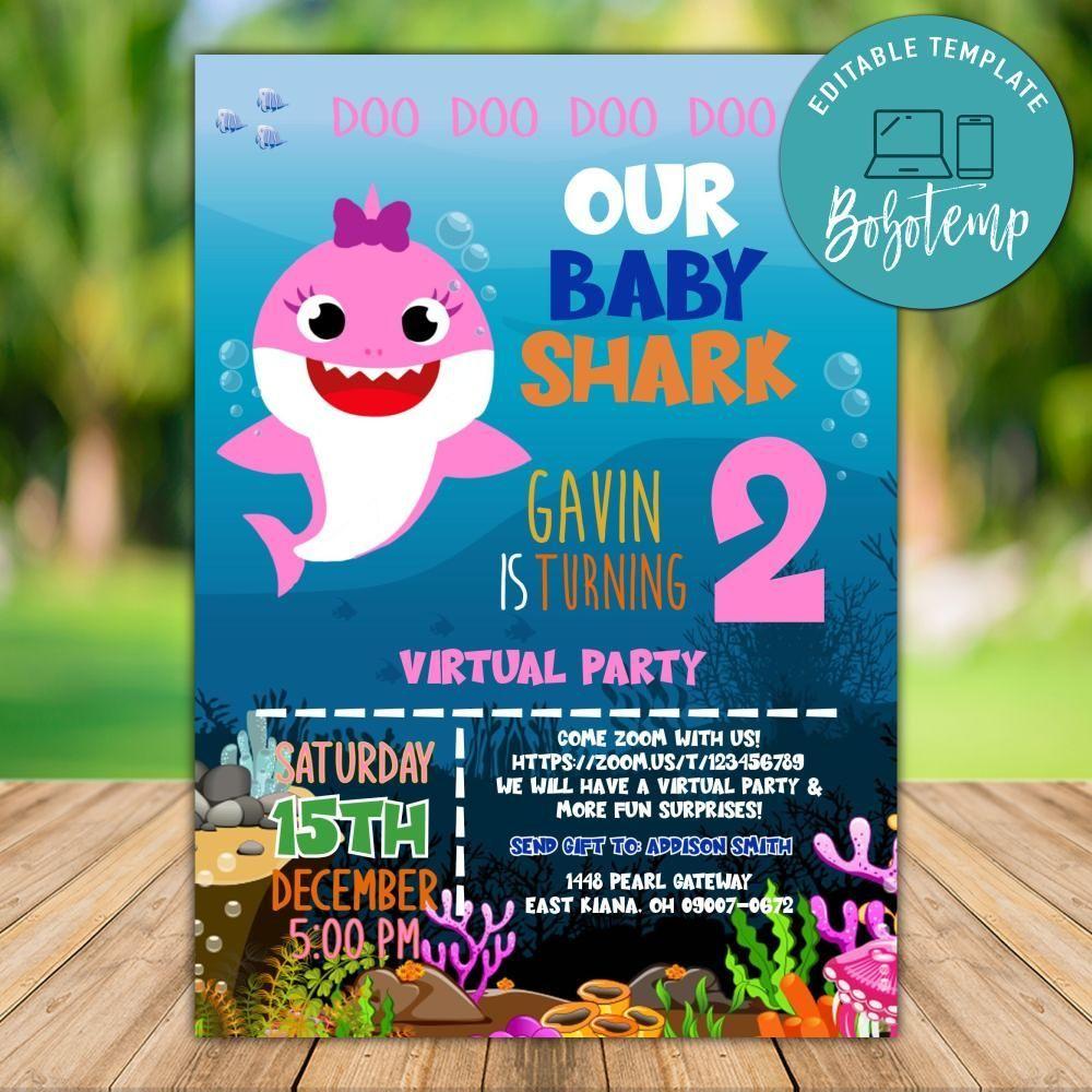 Printable Girl Baby Shark Virtual Party Invitation Template Diy Bobotemp Shark Birthday Invitations Party Invite Template Shark Party Invitations