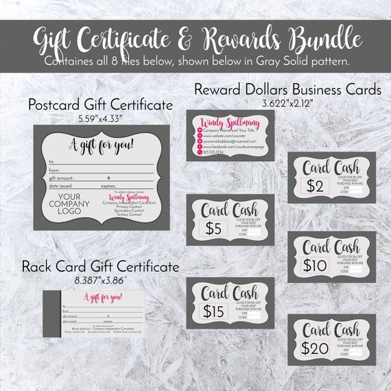 Gift Certificate + Rewards Bundle Personalized In Gray