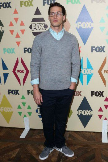 Andy Samberg in Nike Blazer sneakers at FOX's All-Star Party.