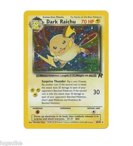 pokemon card team rocket ultra rare holo dark raichu 83 82. Black Bedroom Furniture Sets. Home Design Ideas