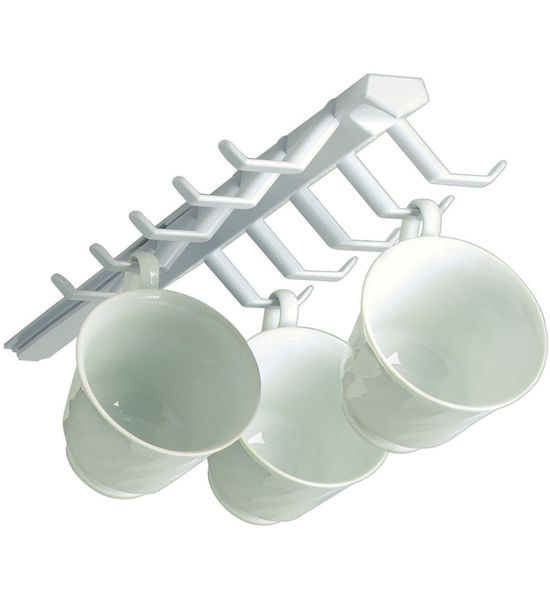 Your Coffee Mugs Under Kitchen Counter With The Mounted Sliding Cup Storage Rack