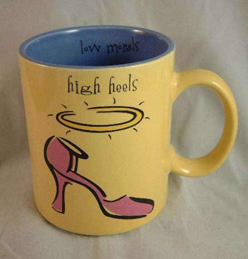 Max Lucy Coffee Mug High Heels Low Morals Silvestri Brand Yellow And Blue Ceramic In 2020 Mugs Coffee Mugs Coffee