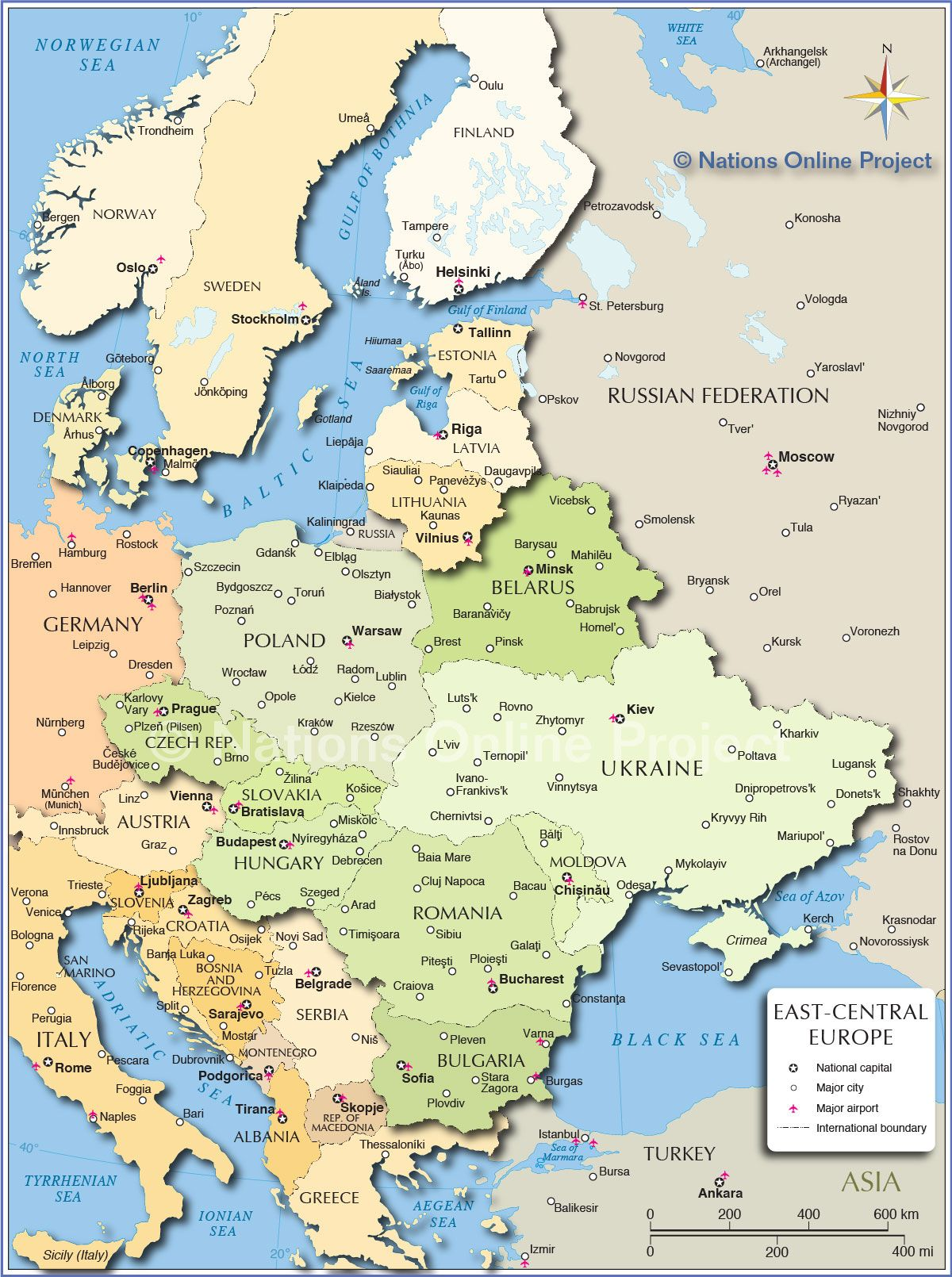 Political Map of Central and Eastern Europe Nations