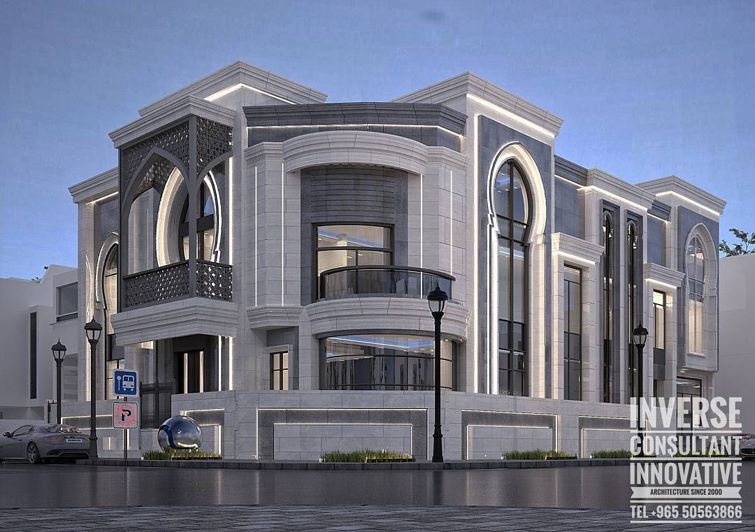 A Combination Of Modern And Marrocan Style Blended With Minimalist Lighting By Inverse Classic House Design Modern Exterior House Designs House Outside Design