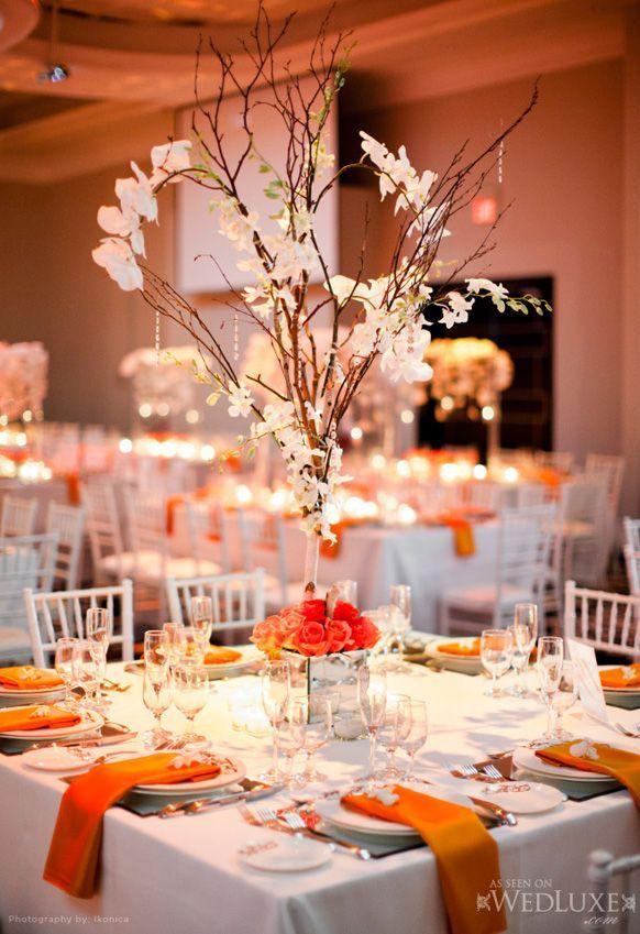Tree Branch Centerpiece In Burnt Orange Wedding Table Centerpieces Diy Branch Centerpieces Wedding Wedding Reception Centerpieces