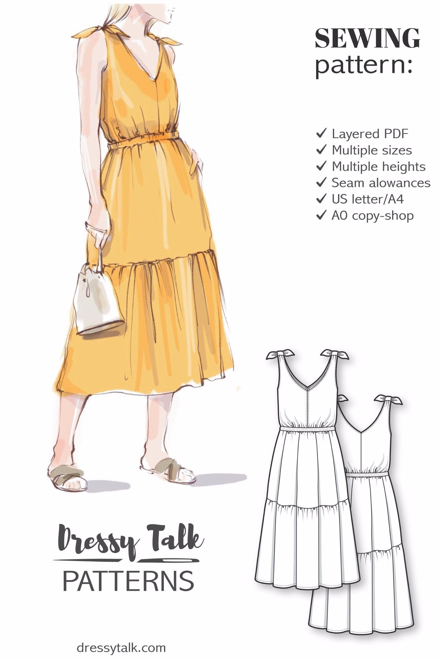 Sleeveless Midi Summer Dress Sewing Pattern Simple Dress Pattern Summer Dress Sewing Patterns Sundress Sewing Patterns [ 2250 x 1500 Pixel ]