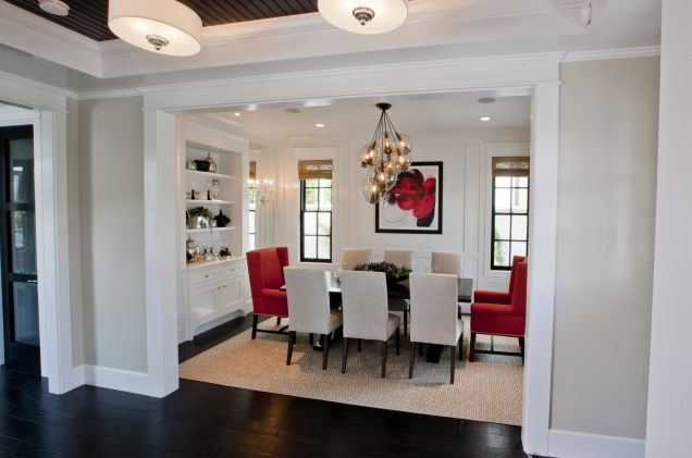 Simple Classic Cased Opening Between Rooms Red Dining Room Traditional Dining Rooms Dining Room Interiors