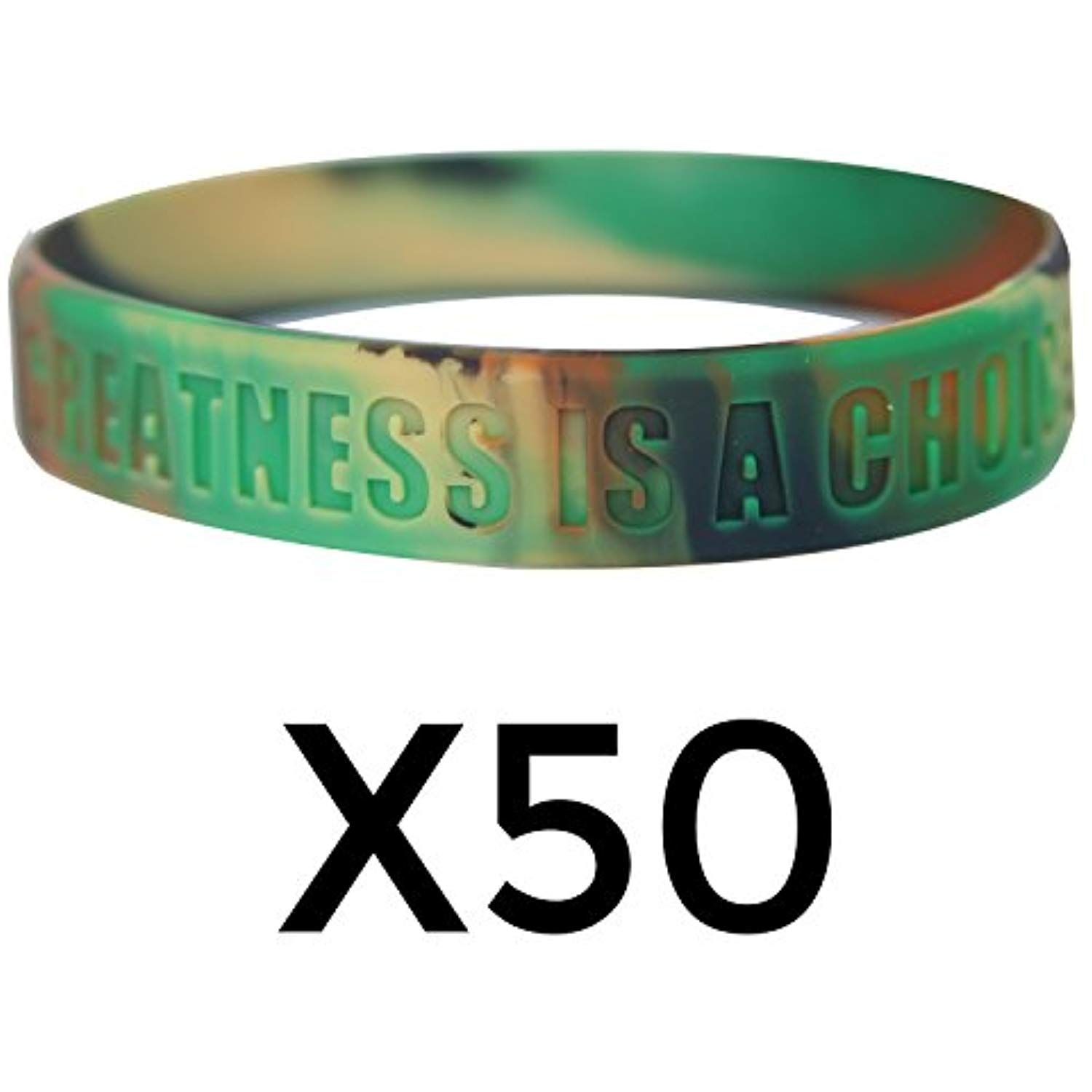 GOMOYO Greatness is a Choice Eight Colors of Inspirational Rubber Bracelets Bulk Options for Teams are Available Create Who You Want to Be Motivational Silicone Wristband with Quote