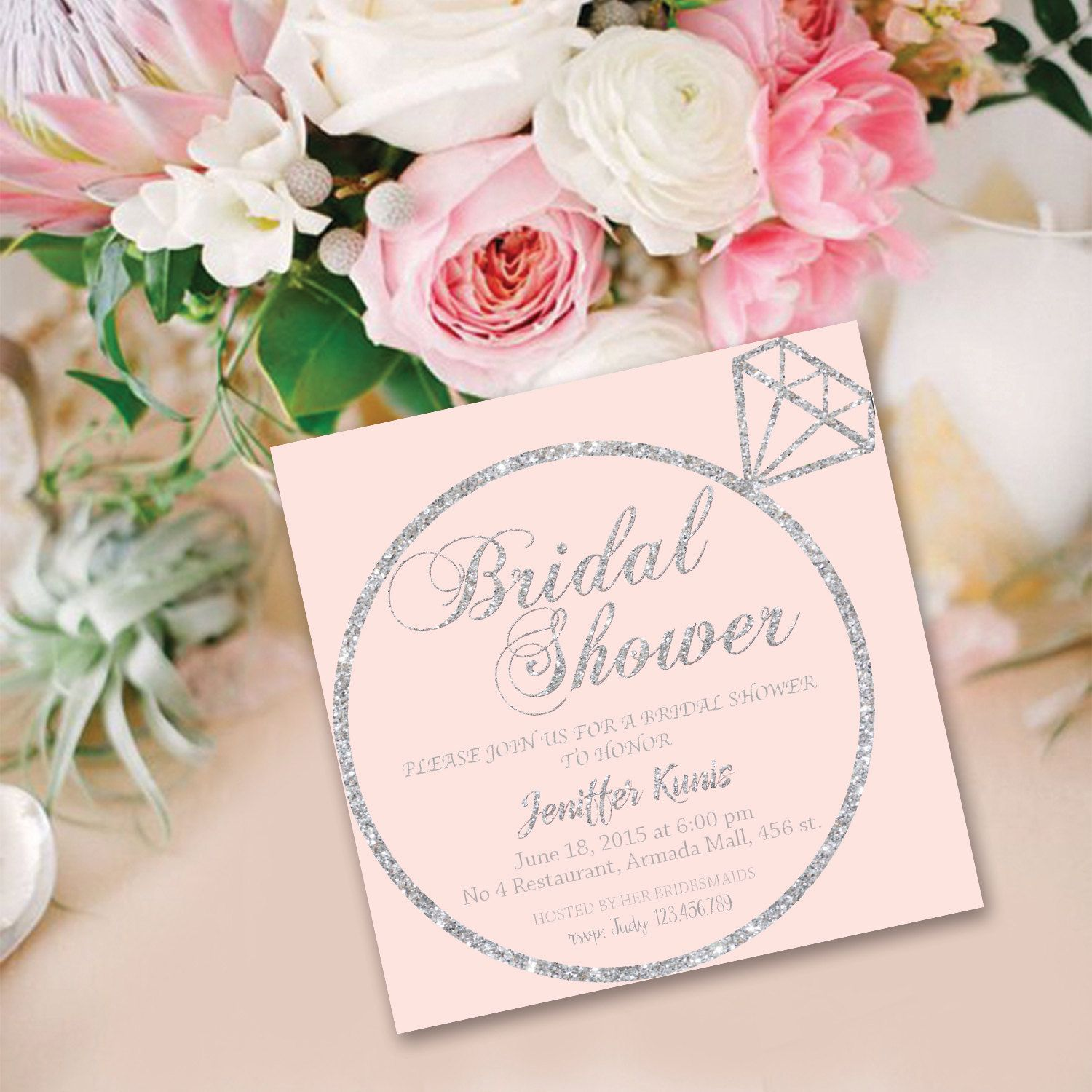 Blush Pink Mint Lilac Cream White & Silver Bridal Shower