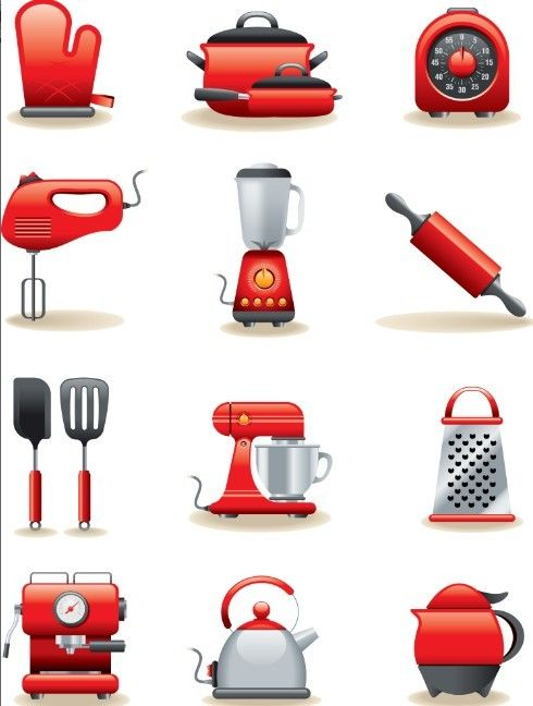 Free Set Of Red Cooking Supplies Icons Vector   TitanUI