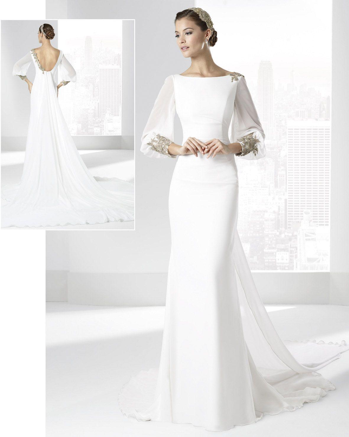 Salina - Franc Sarabia - vestido de novia recto con apliques dorados ...