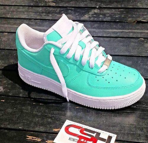 Custom Mint greenWhite Nike Air Force 1s | Nike free shoes