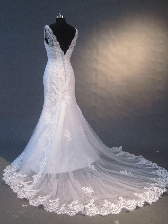 off shoulder wedding dress lace mermaid wedding dress by okbridal, $298.00