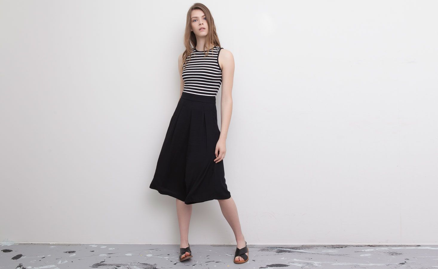 Pull&Bear - mujer - black & white - pantalón culotte fluido - negro - 09682300-V2015
