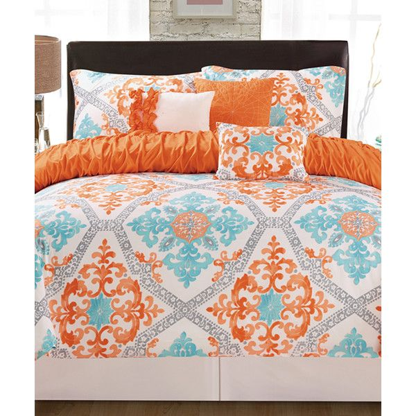 Artistic Linen Orange Aqua Maddy Six Piece Bedding Set 60