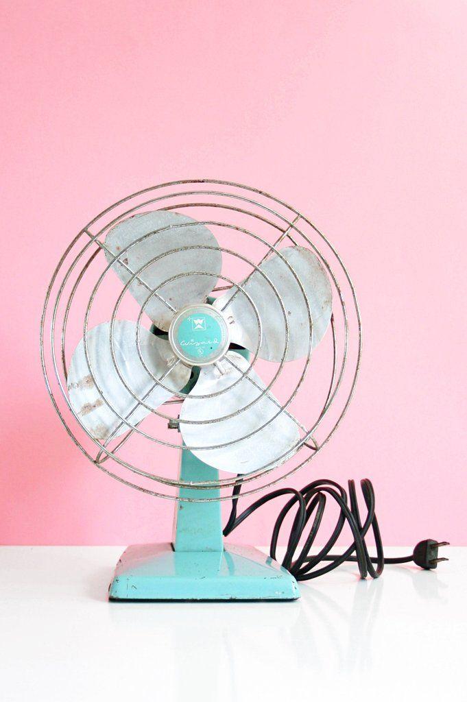 mid century modern aqua blue electric fan vintage wizard fan by