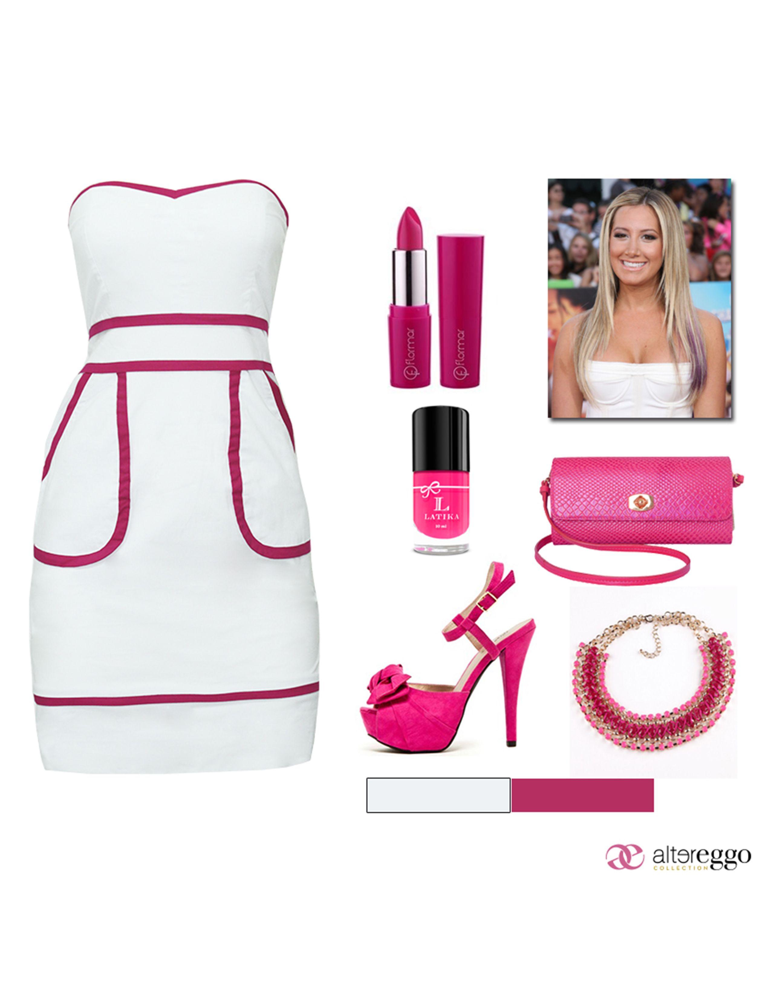 #vestido #blanco #detalles #rosa #fucsia