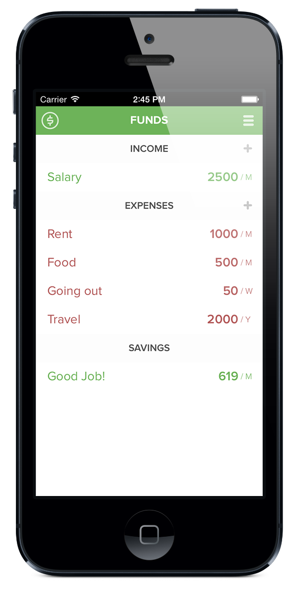Funds. A Simple and Fun Budget Calculator for iPhone and iPad