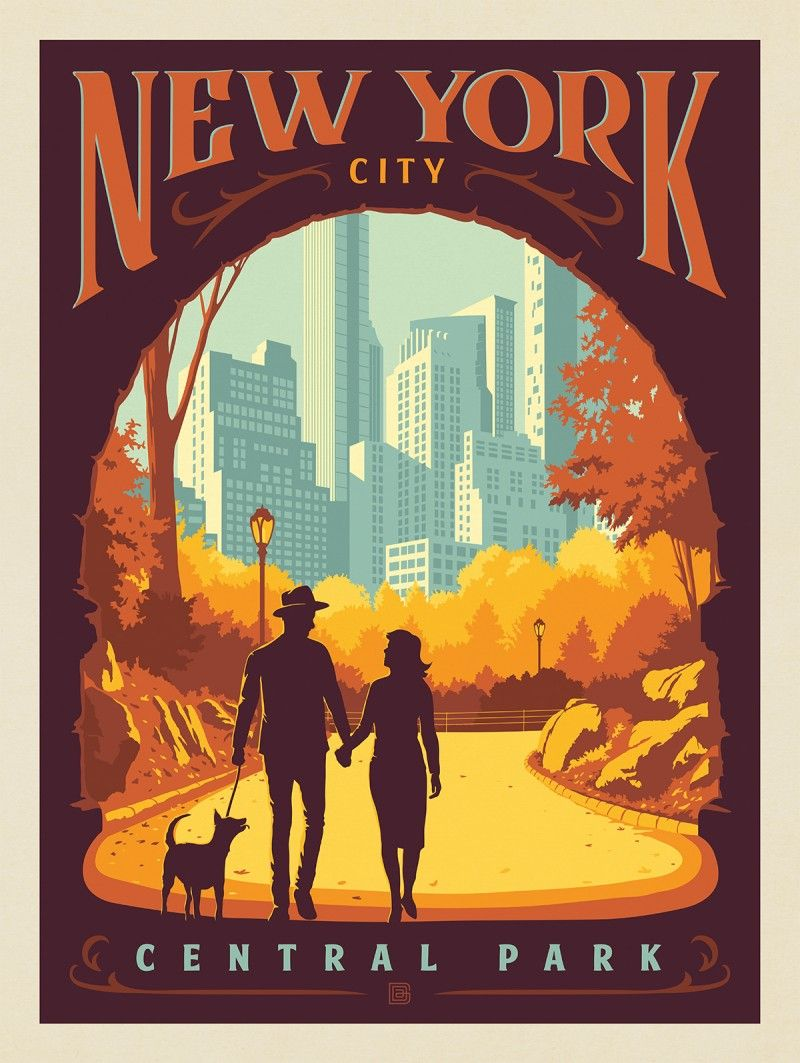 New York Central Park Inscope Arch Anderson Design Group In 2020 Poster Prints Vintage Poster Design Poster