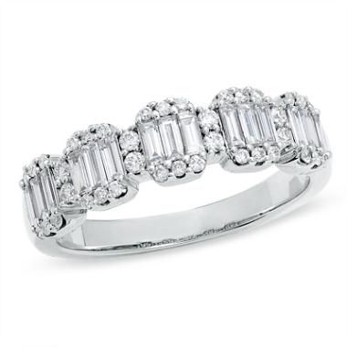 3/4 CT. T.W. Baguette and Round Diamond Band in 14K White Gold