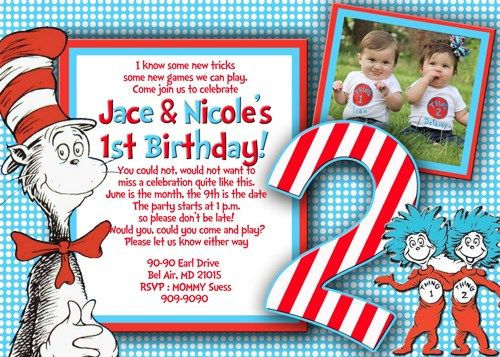 Download FREE Template Dr Seuss Invitations For 1st Birthday