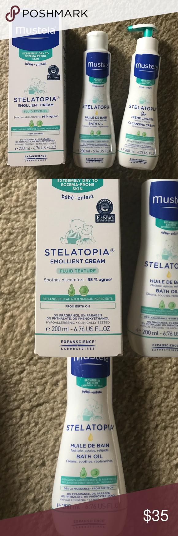 New In Box Mustela Stelatopia Eczema Bath Set 676 Oz Oil Emollient Cream