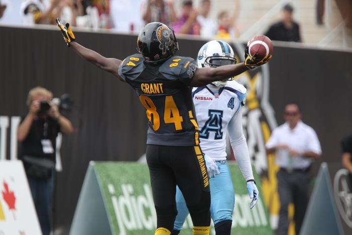 Grant #84 scored the 1st-ever TD at Tim Hortons Field.