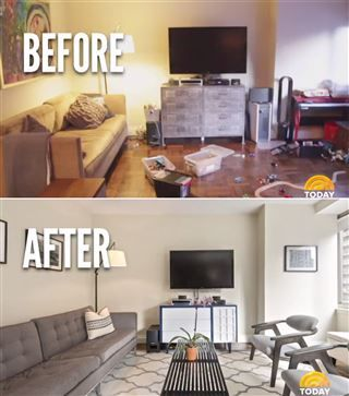 This is a great before and after for staging. The space was de cluttered, personal objects were taken out, and simple accent places were added.