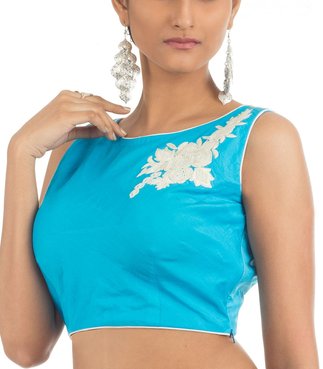 fb6169b57cc606 Sky Blue Crepe with White Embroidery Designer Blouse - BL3245 | Indian Silk  House Agencies