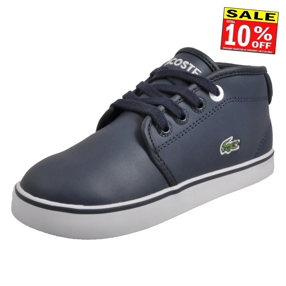 2a37e83d6 Lacoste Ampthill 316 Infants Classic Casual Designer Mid Top Trainers Navy  (eBay Link)