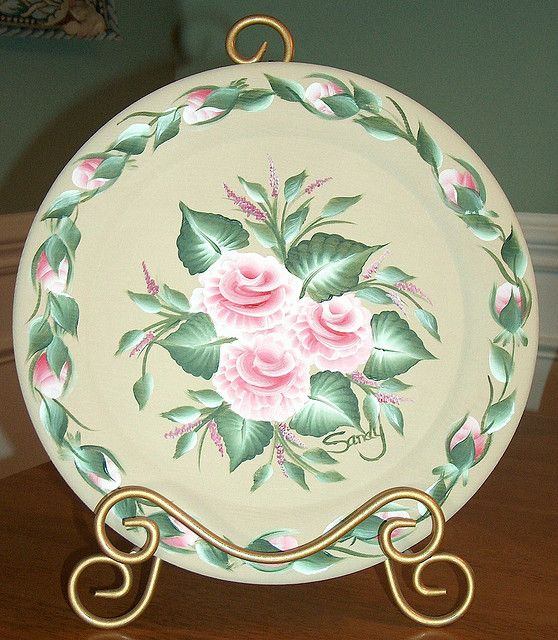 Rose Plate | Painting/One stroke | One stroke painting